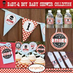 BBQ Baby Shower Decorations Baby Q Cupcake Toppers Couples
