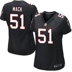 Nike Falcons #51 Alex Mack Black Alternate Women's Stitched NFL Elite Jersey