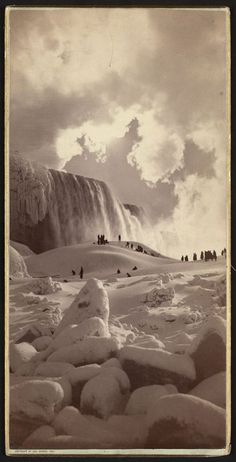 George Barker :: People on snow-covered ice at the base of the frozen American Falls, Niagara Falls, New York, ca. 1883   src: Library of Congress