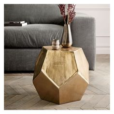 West Elm Gem Cut Side Table ($249) ❤ liked on Polyvore featuring home, furniture, tables, accent tables, west elm furniture, aluminum furniture, west elm end table, aluminium table and aluminum accent table