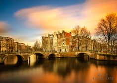 Sunset in Amsterdam by W