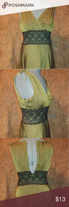 Connected apparel olive green cocktail dress 12 Pre-owned Connected Apparel dress in size 12. Olive green overlay with black lining, and black lace detail at waist. Zips up back. (Zipper does work, dress just does not fit my dress form.) Dress was only worn once. Great condition. connected apparel Dresses Midi