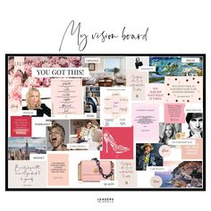 Create your very own vision board in your home or office with these printable elements. Whatever your dream, get inspired, get motivated, and Make It Happen! Vision Board Template, Vision Board Ideas Diy, Vision Boards Examples, Digital Vision Board, Goal Board, Creating A Vision Board, Visualisation, Instagram, 2020 Vision