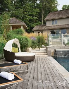 Conjure the exclusive vibe of a boutique hotel pool with expansive lounge seating that commands some respect.   Photographer: Brenda Lui   Designer: Earth Inc. Designed Landscapes