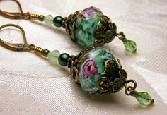 Light Green and Pink Rose Crystal Pearl by TitanicTemptations