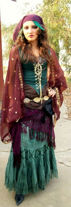 DIY Gypsy: Corset, top, skirt, scarf, belt, shawl, purse, and shoes all thrifted
