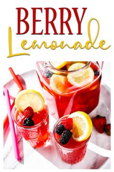 Classic homemade lemonade gets a fun berry twist with the addition of raspberry, strawberry and blackberry juice. #lemonade #berries #drinks #summerdrinks Berry Lemonade Recipe, Homemade Lemonade, Drinks Alcohol Recipes, Non Alcoholic Drinks, Drink Recipes, Cocktails, Berry Juice, Berry Berry, Summer Drinks