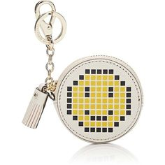 Anya Hindmarch Women's Pixelated Smiley Face Coin Purse ($179) ❤ liked on Polyvore featuring bags, wallets, no color, change purse wallet, zipper wallet, embossed wallet, bow wallet and coin purse