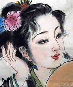 Gueisha (Retrato impressionista ' pintado ' em Papel de Arroz do Chinês Bai Bo Hua (Geaatelier)