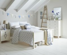 cutest nautical room! anchors, white wash floorboards, bunting, asda home