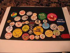 Mixed Lot 37 Pinback Buttons  Happy Face Travel Political Shoneys Food Souvenir