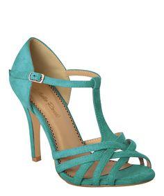 Turquoise Peep-Toe T-Strap Pump