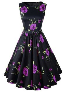 From Sammy Dress - Retro Style Round Neck Sleeveless Roses Print Ball Gown Dress For Women
