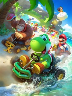 "Are shortcuts cheating? What were the rules in your house? 🖥️ Check out ""Koopa Beach - Mario Kart 64 Fanart"" by yoshiyaki… Mario Kart 64, Mario Y Luigi, Mini Mario, Nintendo Mario Kart, Mundo Super Mario, Super Mario Art, Super Mario World, Wallpaper Animes, Mario Party"
