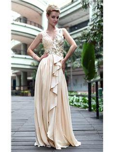 Charming V-Neck Sleeveless Floor-Length Beading A-Line Evening Dresses
