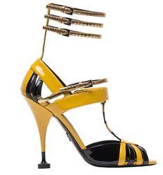 Sandales en cuir verni Prada