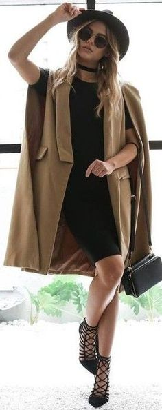 #fall #executive #peonies #outfits |  Camel Cape Coat + All Black
