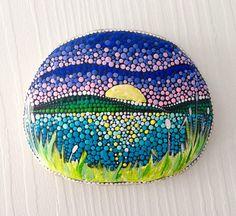 Big Sunset Dot Art Painted stone painted rock Fairy garden marker decoration stone art dotilism blue