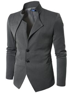 Doublju Mens Blazer Jacket with China Collar GRAY (US-XL)