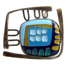 Polly Stehman Enamel Sterling Abstract Modernist Brooch