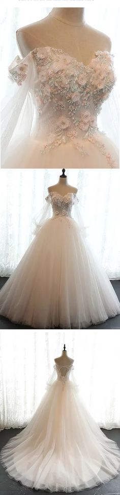 Chic Wedding Dresses Off-the-shoulder Ball Gown Lace Bridal Gown JKS242#annapromdress #weddingdress #wedding #bridalgown #BridalGowns #cheapweddingdress #fashion #style #dance #bridal  #sweetheart