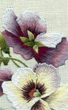 Hand embroidery flower shading long and short stitch More More
