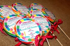 Candy+Land+Party+Invitation+by+SnowboardMom+on+Etsy,+$8.00, love that they are on a lolly.