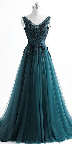 Romantic V neck Green Lace Appliques Tulle Long Prom - ., Romantic V neck Green Lace Appliques Tulle Long Prom - Wedding Dress Chiffon, Tulle Prom Dress, Grad Dresses, Dresses For Teens, Ball Dresses, Homecoming Dresses, Dresses Dresses, Simple Prom Dress, Ball Gowns