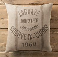 Vintage French Grain-Sack Linen Lachaze Pillow Cover | Pillows & Throws | Restoration Hardware