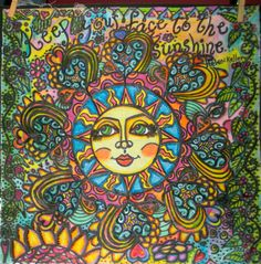 Keep Your Face To The Sunshine Peace Flag Hippie by DawnCollinsArt