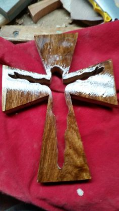 Hand made cross made from African rose wood bought in ghana