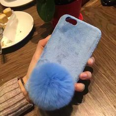 Fashion DIY Fur Ball Case For iphone 7 6 6s Plus Cover Elegant Lady Style Warm Rabbit Fuzzy Flannel Plush Hard PC Phone Cases