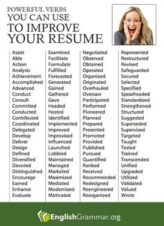 infographic English Grammar - Powerful verbs for your resume (More resume writing tips here. Image Description English Grammar - Powerful verbs for your Job Cover Letter, Cover Letter For Resume, Cover Letters, Words For Resume, Cover Letter Example, Cover Letter Template, Resume Power Words, Resume Action Words, Job Interview Questions
