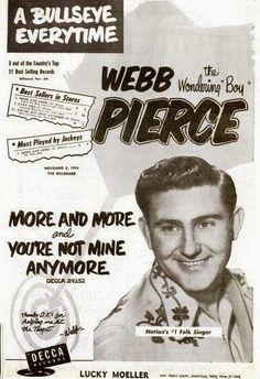 Webb Pierce Decca record ad .