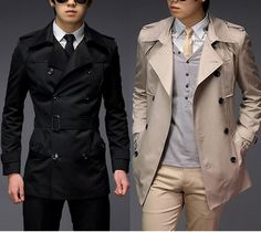 Turn-Down Collar Cotton Plain Long Sleeve Double Breasted Mens Coats 010-140612005