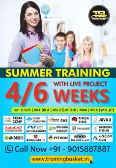 Best Summer training institute in delhi/Noida conducted by Training Basket.In Technology training for the B. Training Courses, Training Programs, Security Technology, Job Portal, Software Testing, Marketing Training, Training Center, Communication Skills, Industrial Design