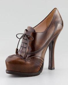 fd28371358c3 Prada Spazzolato Lace-Up Pump - Neiman Marcu. Jenn · Round Toe Platform  Heels