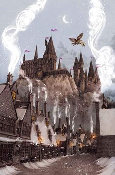 "The one me put the title for this ""thwilight in hogsmead"". Not only did you spell Hogsmeade wrong, you also dared to combine cancer with harry potter, you little bit- Arte Do Harry Potter, Harry Potter Artwork, Harry Potter Drawings, Harry Potter Pictures, Harry Potter Wallpaper, Harry Potter Universal, Harry Potter Fandom, Illustrations Harry Potter, Hery Potter"