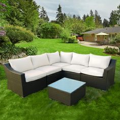 6-Piece Espresso Rattan Patio Sectional with Cushions | Overstock.com
