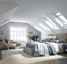 VELUX offers a complete system of complementary products and accessories for any skylight solution – from installation right down to the finishing touches. Attic Renovation, Attic Remodel, Skylight Bedroom, Bonus Room Design, Skylight Design, Serene Bedroom, Master Bedroom, Living Roofs, Roof Architecture