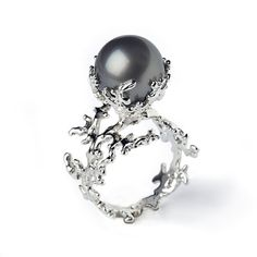 WHITE CORAL Tahitian Pearl Ring Black Pearl Engagement Ring by arosha, $1750.00