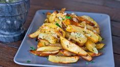 roasted potatoes with garlic sauce... hardly ever make white potatoes but will make an exception for these.