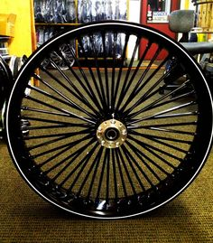 All Black Fat Daddy with Softlip rim and white pinstripe. Harley Davidson Breakout Custom, Harley Davidson Forum, Harley Davidson Street Glide, Harley Davidson Motorcycles, Radios, Harley V Rod, Harley Wheels, Motorcycle Wheels, Motorcycle Gear