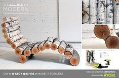 Make this Modern Log Lounger with simple instructions from homemademodern on Instructables Comment, Like, Repin !!!!!!