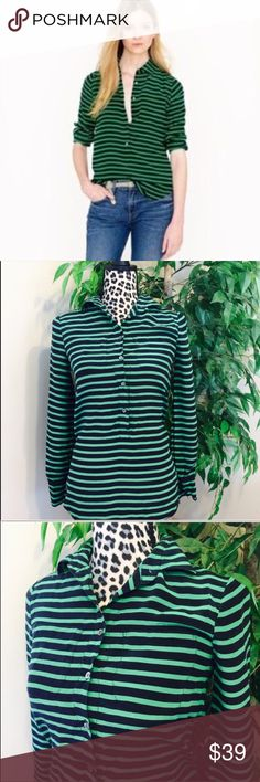 """⚡️⚡️NWOT J. Crew 100% Silk Button Down Striped Top Brand New Without Tags. Beautiful J Crew Green Striped Button Up Blouse Made Of 100% Silk. Size 00 Approx 16 1/2-17"""" Inches From Pit To Pit And Approx 26"""" Flat From The Top To Bottom. J. Crew Tops Button Down Shirts"""