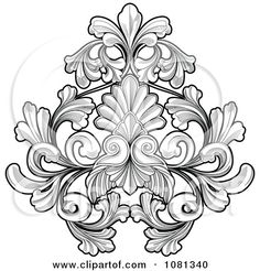 Clipart Black And White Floral Tattoo Design Element - Royalty Free Vector Illustration by Geo Images