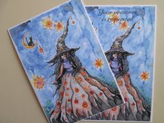 Watercolor Hand Made Halloween Witch Invitations, Halloween Party Invites Good Witch Postcard Style Invites with Envelopes by DreanasDragonflyPie on Etsy