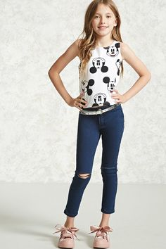 Forever 21 girls - a knit tank top featuring an allover mickey mouse print, Preteen Girls Fashion, Girls Fashion Clothes, Fashion Outfits, Fashion Scarves, Discount Kids Clothes, Kids Clothes Sale, Kids Clothing, Clothing Stores, Young Fashion