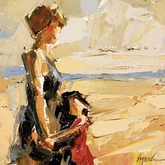 """""""Beach Time"""" by Sally Shisler, palette knife painting, palette knife instructor, impressionism, impressionist, mother daughter, sunset, summer, playing in water, child at the seashore, painting by artist Sally Cummings Shisler"""