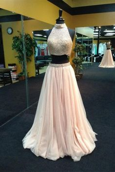 2016 Pearl Pink Halter Two Piece Beaded Long Prom Dresses